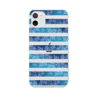 縞々の森(クリア) Clear smartphone cases