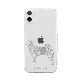 花月 柴犬 Clear smartphone cases
