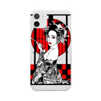 うの花魁 Clear smartphone cases