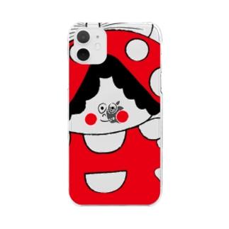 赤いキノコちゃん Clear smartphone cases