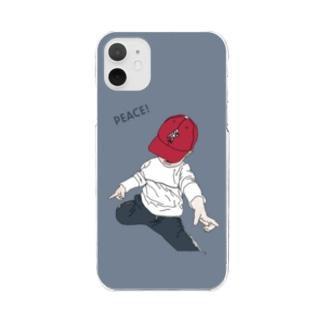 saku bluegray2 Clear smartphone cases