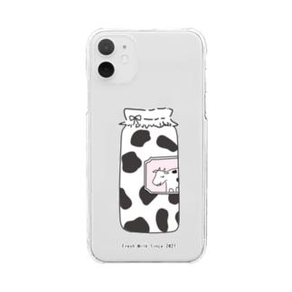 牛乳瓶*ブラック Clear smartphone cases