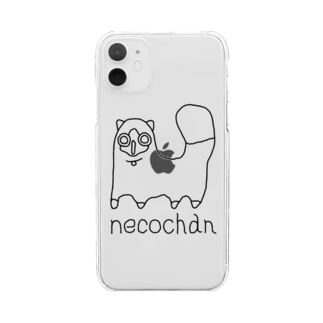 neco chan 黒 Clear smartphone cases