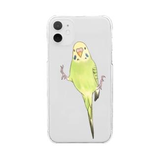 ピタッとセキセイインコちゃん【まめるりはことり】 Clear smartphone cases
