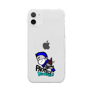 Protect Yourself (ブルー) Clear smartphone cases
