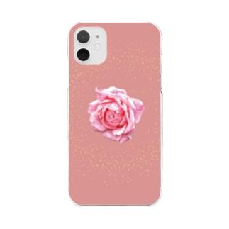 アランさんのピンクのバラ Clear smartphone cases