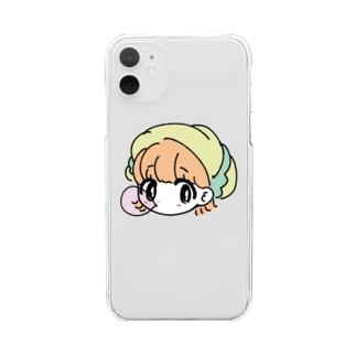 帽子風船ガム子 Clear smartphone cases