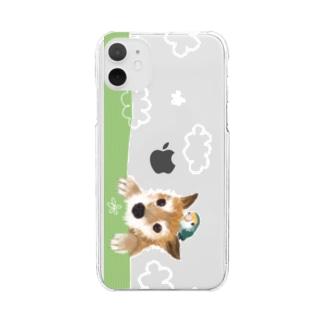 仲良しさん(わんこ&コザクラ)【 白い雲】 Clear smartphone cases