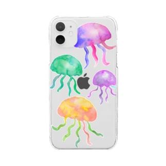 透明水彩クラゲのiphoneケース Clear smartphone cases