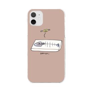 こんがり焼き魚(ぺろり)モカ Clear smartphone cases