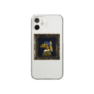 真珠の耳飾りのキリン Clear smartphone cases