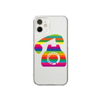 カラフル黒電話 Clear smartphone cases