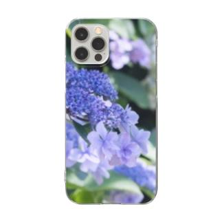 花フォト(アジサイ/紫) Clear smartphone cases