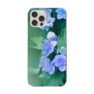 花フォト(アジサイ/緑) Clear smartphone cases