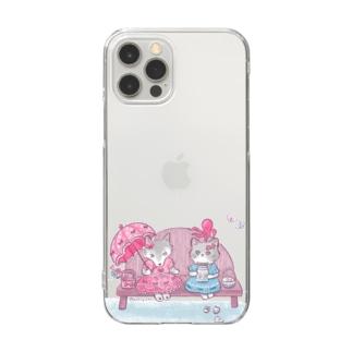 ピンク大好きオオカミちゃんと海大好きネコちゃん Clear smartphone cases