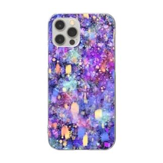 昼寝猫の夢幻夜空 Clear smartphone cases
