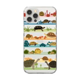 リクガメボーダー Clear smartphone cases