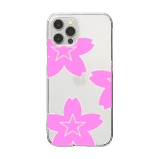 星桜紋(流れ星ピンク) Star cherry blossom Crest (Shooting star pink)) Clear smartphone cases