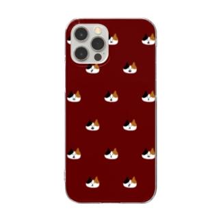 三毛猫ゆるドット・赤・ケース Clear smartphone cases
