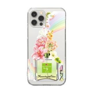 アンドアイデザイン 数秘&カラー🄬オマージュボトルNo9&OLIVE Clear smartphone cases