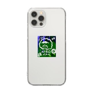 210726 アフロマン Clear smartphone cases