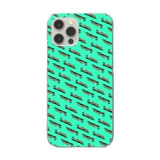 なまけもの パターン/チョコミント Clear smartphone cases