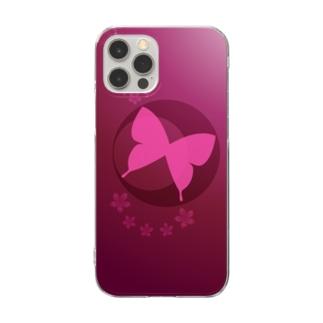 赤|蝶月 Clear smartphone cases