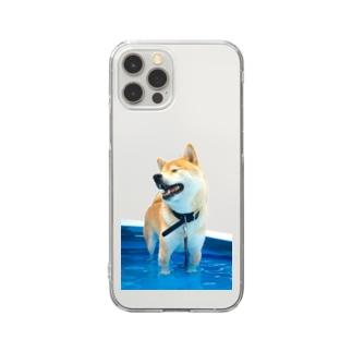 足が短く見える犬 Clear smartphone cases