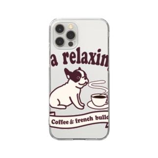 コーヒーとフレンチブルドッグ Clear Smartphone Case