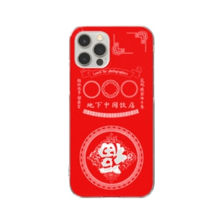 中国柄 レッド Clear smartphone cases