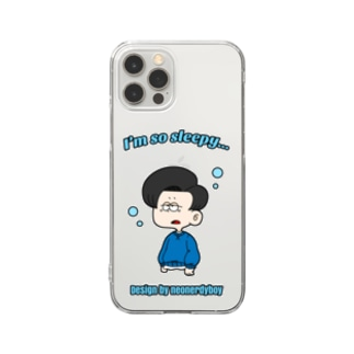 Design by neonerdyboyのSLEEPY BOY iPhoneCase Clear smartphone cases