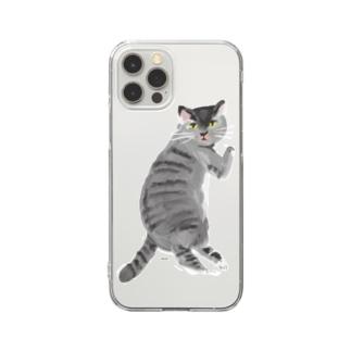 こっち見んなさばとら Clear smartphone cases