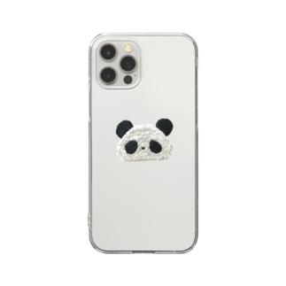 パンダの刺繍 Clear smartphone cases