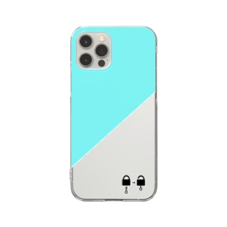 南京錠スマホケース(エメラルドグリーン) Clear smartphone cases
