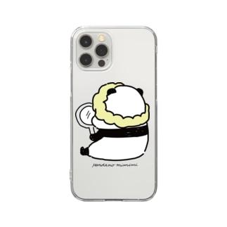 手鏡を見るパンダ Clear smartphone cases