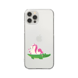 ワニとユニコーン Clear smartphone cases