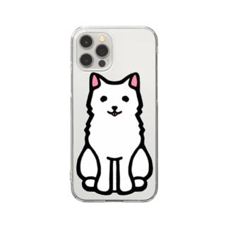 白い毛並みがチャームポイントの日本犬 Clear smartphone cases