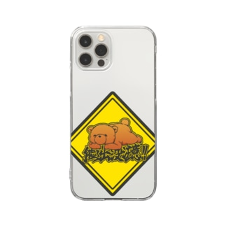 クマ出没注意標識 Clear smartphone cases