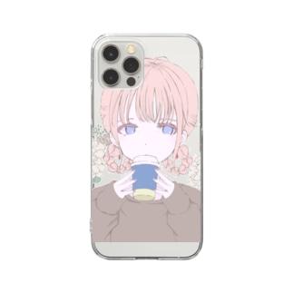 ホッとコーヒーな女子 Clear smartphone cases