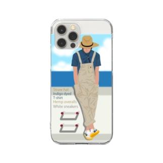 麦わら帽の青年と海 スマホ用 Clear smartphone cases