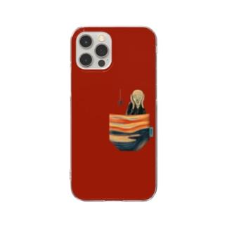 ポケットからの『叫び』 スマホケース (濃いレッド) Clear smartphone cases