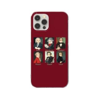ドット 音楽室の肖像画 スマホケース (エンジ) Clear smartphone cases