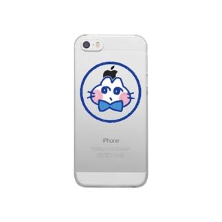 おすましねこブルー Clear smartphone cases