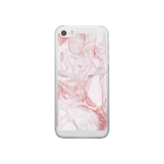 大理石(ピンク) Clear smartphone cases