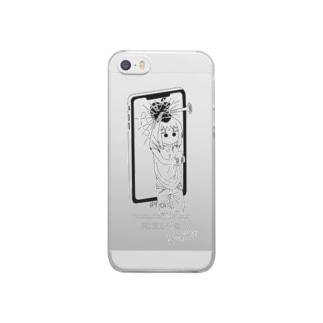 みがちゃんスマホに釘付け(iPhoneケース) Clear smartphone cases