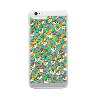 ナベヅルてんこもり Clear smartphone cases