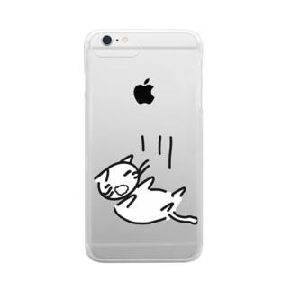 落ちている  可愛いのかどうかよくわからない猫 Clear smartphone cases