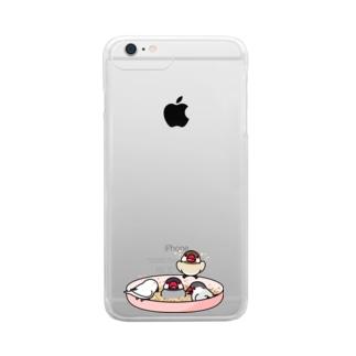 いつでもなかよし文鳥【まめるりはことり】 Clear smartphone cases