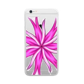 ピンクの花 Clear smartphone cases