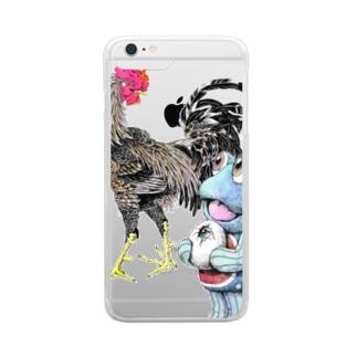 魚植綵絵〜雄鶏陸吾郎図 Clear smartphone cases